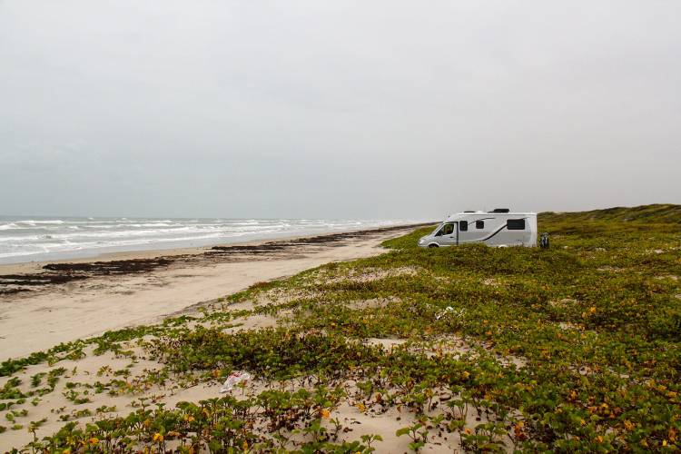 Solitary campers on Padre Island